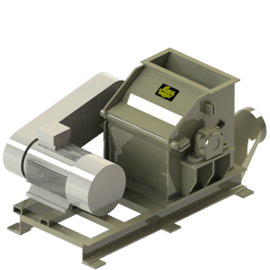Scanhugger re-shredder in 3D front view made for shredding wood into material for briquittes and pellet production