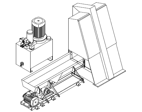 stencil of wood chopping Guillotine from Scanhugger made for wood cutting wood turnkey system