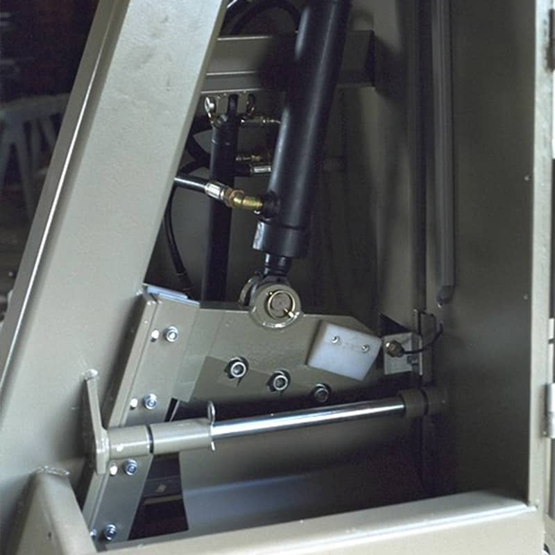 Wood guillotine internal view of blade and hydraulics